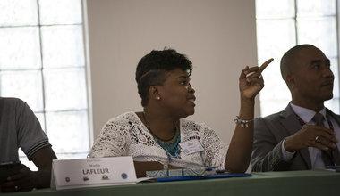 """Nadia Lafleur de l'association """"Fanm Décidé"""" a participé aux discussions de Jacmel autour des violences sexuelles les 22 et 23 février. © Leonora Baumann / UN / MINUJUSTH, 2018"""