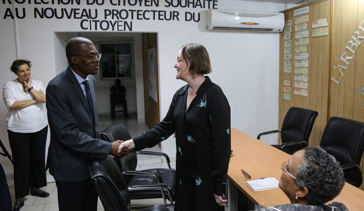 Jane Connors, Victims' Rights Advocate visited Haiti from 22 to 26 April 2018 to learn more about the work done by MINUJUSTH and the UN Country Team to implement the UN Secretary-General's strategy to prevent and respond to sexual exploitation and abuse. © Leonora Baumann / UN / MINUJUSTH, 2018