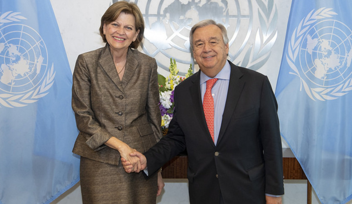 Secretary General Antonio Guterres meeting with Ms. Helen La Lime (Special Representative of the Secretary-General for Haiti and Head of the United Nations Mission for Justice Support in Haiti). 5th September 2018. © UN Photo/Eskinder Debebe