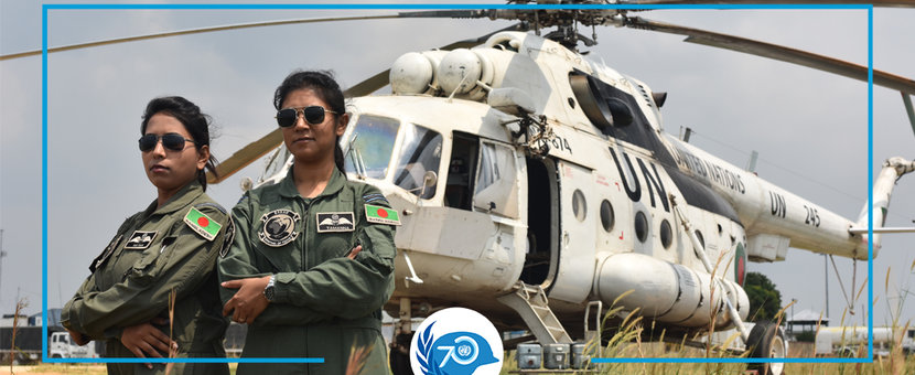 Nayma Haque and Tamanna-E-Lutfi are the two first female pilots to serve in a peacekeeping operation. © UN